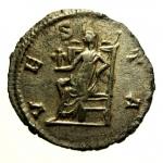 R/ Impero Romano Salonina. 253-268 d.C. Antoniniano : D/ SALONINA AVG Busto verso destra. R/ VESTA Vesta seduta con palladio e scettro. Ric 9. Peso 2,7 gr. Diametro 21,5 mm. qBB.