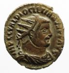 D/ Impero Romano. Diocleziano. 284-305 d.C. Antoniniano, Heraclea. AE. D/ Busto radiato e drappeggiato a destra. R/ CONCORDIA MILITVM Diocleziano, stante a destra, riceve da Jupiter Vittoria su globo, che lo incorona. Nel campo, in basso, HB. RIC 13. Peso gr. 3,40. SPL.Patina Marrone