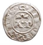 D/ Zecche Italiane - Brindisi. Enrico VI. 1190-1198. Denaro. D/ AP. R/ Croce. Sp. 30. MI, Peso 0.84 gr. BB+. Piena argentatura