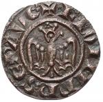 D/ Zecche Italiane - Brindisi o Messina.Federico II (1197-1250), Denaro del 1244, BI, (g 0,48) d/+ F.ROM.IMP'SEP.AVG r/ +R.IERSL'ET SICIL', Spahr 130. BB-SPL