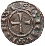 R/ Zecche Italiane - Brindisi o Messina.Federico II (1197-1250), Denaro del 1244, BI, (g 0,48) d/+ F.ROM.IMP'SEP.AVG r/ +R.IERSL'ET SICIL', Spahr 130. BB-SPL