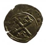 D/ Zecche Italiane. Frinco. Anonime Consortili. 1581-1601. Sesino. AE. D/ BONA MACET chiavi decussate e tiara R/ S PETRVS MIR 640. BB+. RRR.__