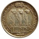 D/ Zecche Italiane. San Marino. 20 lire 1931. AG. Pag. 342. Bello SPL. Patina. s.v.
