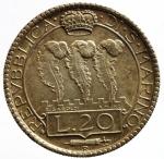 D/ Zecche Italiane. San Marino. 20 lire 1935. Ag. Gig. 5. SPL. Patinata. s.v.