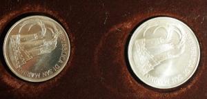 D/ Zecche Italiane.San Marino. Dittico 1984 'XXIII Olimpiade': 1'000 lire e 500 lire. AG. FS.
