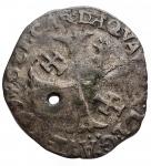 R/ Monete Estere - Francia. Avignone. Clemente VIII. Grosso Dozzeno. gr 2,19. Foro. BB. Patina