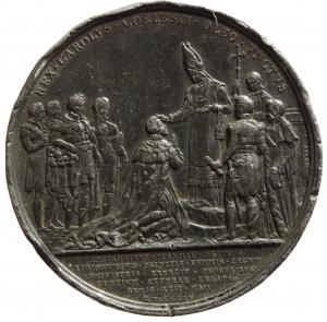 D/ Medaglie. Francia. Medaglia Uniface per l'incoronazione di Carlo 1825. REX CAROLVS COELESTI OLEO VNCTVS. Diametro 52,00 mm. BB.s.v
