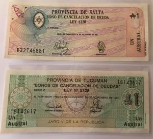 D/ Cartamoneta.Argentina.Lotto di 2 banconote Buono di cancellazione del debito.Ottima Conservazione.gf