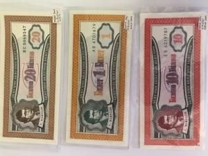 D/ Cartamoneta.Russia.Lotto di 3 banconote di banche private 1994.Ottima Conservazione.gf