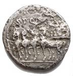 R/ Varie - Impero Romano. Augusto.27 a.C. - 14 d.C. Denario Ag. gr 2,97. mm 18,7. Testa a sn / Quadriga a sn