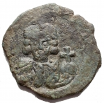 D/ Varie - Giustiniano II, primo regno (685-695) Follis (40 Nummi) Siracusa 685-695 d.C. AE g 6,73 d/ Busto frontale r/ Grande M, sopra monogramma in ex SCL. Patina verde.