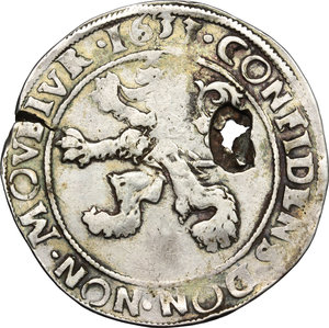 reverse: Netherlands. Lion Daalder 1633, Overyssel