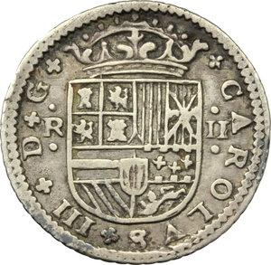 obverse: Spain.  Carlo III (1706-1740).. 2 reales 1708