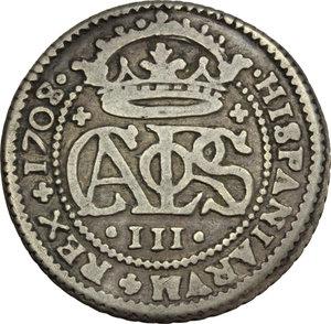 reverse: Spain.  Carlo III (1706-1740).. 2 reales 1708