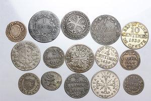 obverse: Switzerland. Lot of 15 coins to be sorted. Many cantons: Luzern, Schwyz Geneva, Vaud, Neuchatel, San Gallo, Bern,Wallis