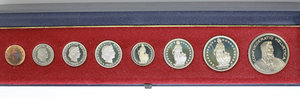 obverse: Switzerland. Serie (1,5,10,20 Rappen, 1/2,1,2,5 Francs)  Proof 1980 in official box