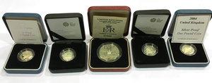 obverse: United Kingdom.  Elizabeth II (1952 -). Lot of 5 coins: pound 2004, 2005, 2008, 2009 and  crown 1993