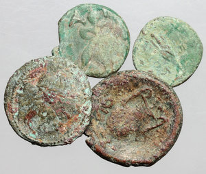 D/ Greek World. Multiple lot of four (4) unclassified AE coins, including a countermarked example.     AE.      Fair:F.