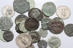 D/ Roman Empire. Multiple lot of twenty-three (23) unclassified coins, mostly AE, including three (3) silver pieces.     AE/AR.      F:About VF.