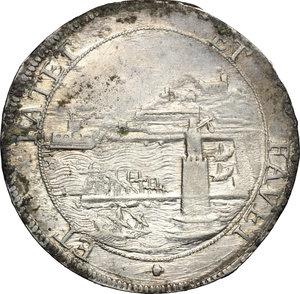 R/ Livorno. Cosimo III de' Medici (1670-1723). Tollero 1680.    CNI 14. Rav. Mor. 12. Di Giulio 129. AG. g. 27.00  mm. 40.00  RR. Metallo brillante con leggera patina dorata SPL.
