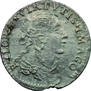 D/ Lucca. Repubblica  (1369-1799). Luigino anonimo 1668.    Camm. 190. AG. g. 1.82   RR. Marginale difetto da conio. Metallo poroso BB.