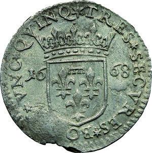 R/ Lucca. Repubblica  (1369-1799). Luigino anonimo 1668.    Camm. 190. AG. g. 1.82   RR. Marginale difetto da conio. Metallo poroso BB.