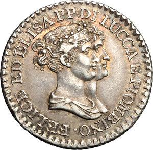 D/ Lucca. Elisa Bonaparte e Felice Baciocchi (1805-1814). 1 franco 1807.    MIR 245/3. AG. g. 5.02  mm. 22.50   Patina iridescente da vecchia raccolta.  qSPL.