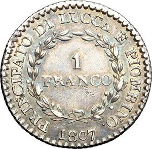 R/ Lucca. Elisa Bonaparte e Felice Baciocchi (1805-1814). 1 franco 1807.    MIR 245/3. AG. g. 5.02  mm. 22.50   Patina iridescente da vecchia raccolta.  qSPL.