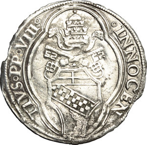 D/ Macerata. Innocenzo VIII (1484-1492). Grosso.    M. 34 var I. Berm. 513. CNI 9. AG. g. 3.25  mm. 28.00  RR.  BB/BB+.
