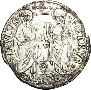 R/ Macerata. Innocenzo VIII (1484-1492). Grosso.    M. 34 var I. Berm. 513. CNI 9. AG. g. 3.25  mm. 28.00  RR.  BB/BB+.