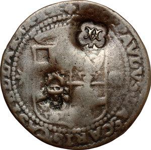 D/ Malta. Fra Jean Paul Lascaris Castellar (1636-1657). 4 tarì contromarcati. 2 contromarche di Emmanuel Pinto (1741-1773): Crescente coronato (in concordanza con i due editti del 31 gennaio 1741) e MA (in concordanza con l'editto del 30 maggio 1766).    Restelli Sammut cf. 62 ( tav. XXXII, 3) per il tipo. Contromarche, p. 217. AE. g. 6.42  mm. 33.00   Data illegibile. Contromarche BB. Moneta ospite  MB.