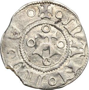 D/ Mantova. Francesco I Gonzaga (1383-1407). Bolognino.    CNI 1. MIR 376. AG. g. 0.95  mm. 18.00  NC. Piccola mancanza del tondello BB.