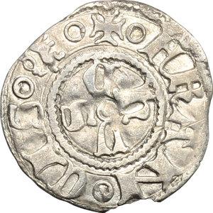 R/ Mantova. Francesco I Gonzaga (1383-1407). Bolognino.    CNI 1. MIR 376. AG. g. 0.95  mm. 18.00  NC. Piccola mancanza del tondello BB.