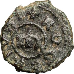 D/ Messina. Tancredi (1189-1194), con il figlio Ruggero. Follaro.    Sp. 139. MIR 45. AE. g. 1.86  mm. 13.50    BB-BB+.