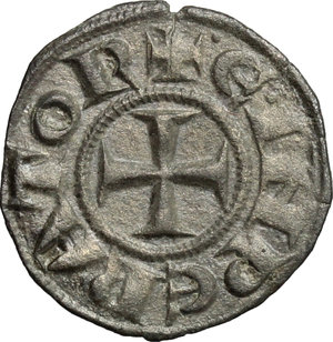 D/ Messina. Enrico VI con la moglie Costanza D'Altavilla (1194-1196). Denaro.    Sp. 27/29. MIR 55. MI. g. 0.82  mm. 15.00    BB+.