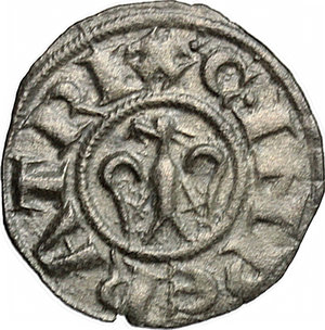 R/ Messina. Enrico VI con la moglie Costanza D'Altavilla (1194-1196). Denaro.    Sp. 27/29. MIR 55. MI. g. 0.82  mm. 15.00    BB+.