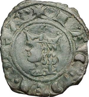 D/ Messina. Giacomo d'Aragona (1285-1296). Denaro.    Sp. 18. MIR 182. AE. g. 0.61  mm. 15.00    Bel BB+.