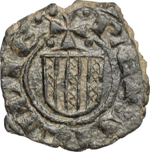 D/ Messina. Giovanni d'Aragona (1458-1479). Denaro, senza sigle.    Sp. 120/5. MIR 233. AE. g. 0.84  mm. 14.00    Bel BB.