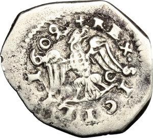 R/ Messina. Filippo III (1598-1621). Tarì 1609 con sigle D C.    Sp. 81/82. MIR 348/1. AG. g. 2.47  mm. 21.00    BB.