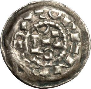 D/ Milano. Enrico II di Sassonia (1004-1024). Denaro scodellato.    Murari 10. MIR 44. AG. g. 1.01  mm. 18.50    BB+/SPL.