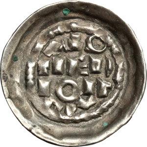 R/ Milano. Enrico II di Sassonia (1004-1024). Denaro scodellato.    Murari 10. MIR 44. AG. g. 1.01  mm. 18.50    BB+/SPL.