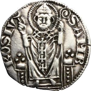 R/ Milano. Prima Repubblica (1250-1310). Ambrosino ridotto.    Negrini-Varesi 45. MIR 68. AG. g. 2.06  mm. 20.00   Evidente slittamento di conio al D/ BB.