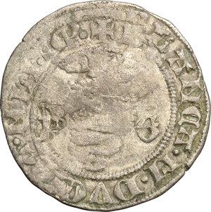 D/ Milano. Bianca Maria Visconti e Galeazzo Maria Sforza (1466-1468). Sesino.    Cr. 3. MIR 196. AG. g. 0.84  mm. 19.00  NC. Slittamento di conio.  qBB/BB.
