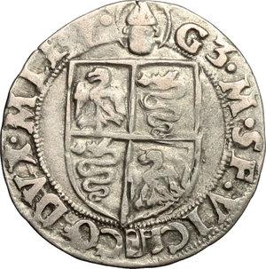 R/ Milano. Galeazzo Maria Sforza (1468-1476). Soldo.    Cr. 14/B  MIR 208/2. AG. g. 1.24  mm. 20.00    Bel BB.