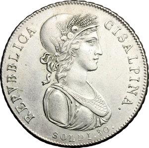 D/ Milano. Repubblica Cisalpina (1800-1802). 30 soldi, anno IX.    Pag. 9. AG.   mm. 29.50  R.  BB+.