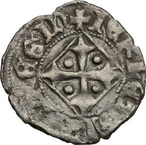 D/ Napoli. Giovanna I d'Angiò (1343-1347). Denaro vedovile.    P/R 4. MIR 33. MI. g. 0.76  mm. 15.00  RR.  BB+. Coniata dopo la morte di Andrea, re di Ungheria.