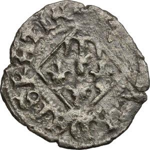 R/ Napoli. Giovanna I d'Angiò (1343-1347). Denaro vedovile.    P/R 4. MIR 33. MI. g. 0.76  mm. 15.00  RR.  BB+. Coniata dopo la morte di Andrea, re di Ungheria.