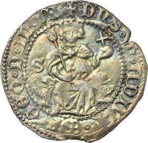 R/ Napoli. Alfonso I d'Aragona (1442-1458). Carlino con sigla S (Francesco Senier Maestro di Zecca 1450-1455).    P/R 3e. MIR 54/6. AG. g. 3.55    Lo scudo ha quattro gigli. La palatura del 2° quadrante ha due fasce. Patina dorata qSPL.