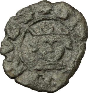 D/ Napoli. Alfonso I d'Aragona (1442-1458). Denaro.    CNI 253. P/R al tipo 15. MIR 59/60. MI. g. 0.60  mm. 14.00   . BB.