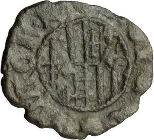 R/ Napoli. Alfonso I d'Aragona (1442-1458). Denaro.    CNI 253. P/R al tipo 15. MIR 59/60. MI. g. 0.60  mm. 14.00   . BB.
